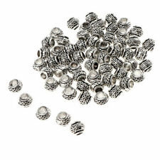 60pcs Silver Alloy European Beads Carved Large Hole Beads 7x5mm