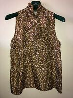 Ladies J Crew Blouse Sleeveless Size 14 100% Silk Ruffle Detail Buttons