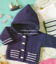 (539) Knitting Pattern for Baby Hooded Cardigan &more in Garter, Easy/ Beginners