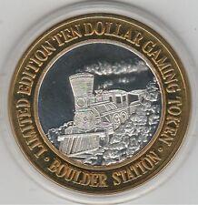 VINTAGE 1995 Boulder Station Left Facing Train Smoke .999 Pure Silver $10 Token