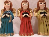 Vtg Christmas Choir Angels Handpainted Trio Gem Collar Ardco