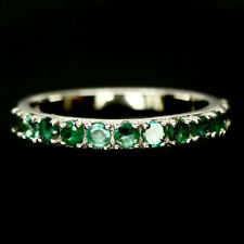 Silver Ring Sz 7.75 Natural Green Emerald 925 Sterling