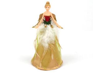 18.5cm Gisela Graham Gold & Red Christmas Fairy Tree Topper
