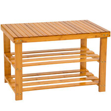 Estantería zapatero con banco de madera sólida taburete estantes bambú calzado