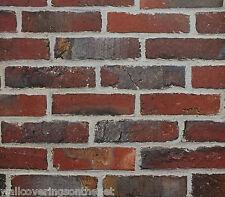 Realistic, Deep Red / Terracotta, Non Textured (Flat Paper) , Brick Wallpaper
