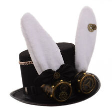 Vintage Steampunk Gear With Gothic Glasses Top Hat Punk Party Bunny Ear Hat