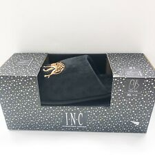 INC Leopard Slippers Womens XL 11-12 Faux Fur Black Slip On embroidered new