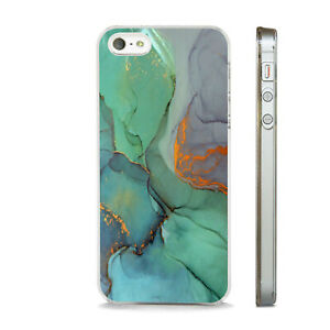 MARBLE EFFECT GREEN BLUE GOLD NEW PHONE CASE COVER FITS All APPLE IPHONE MODELS