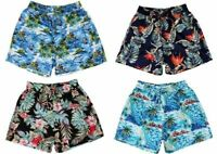 NEW Men's Hawaiian Beach Board Shorts  Tropical Casual 100% Cotton Elastic Waist