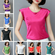 Lady Imitated Silk Vest Sleeveless T-shirt Satin Camisole Loose Blouse Tops Soft