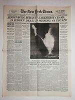 N1060  La Une Du Journal The New York Times 7 Mai 1937 Hindenburg