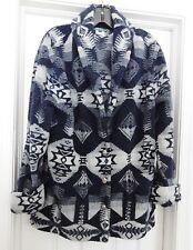 Ralph Lauren Women's Jacket Coat Southwest Tribal Fleece Black Gray Multi Size L