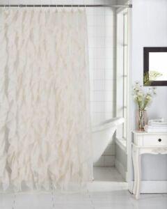 "Cascade Shabby Chic Ruffled Sheer Shower Curtain 70"" X 72"", Ass Colors"