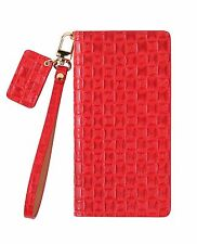 URBANWEST Mesh Patterned Leather Handmade Cell Phone Case for iPhone X - Red