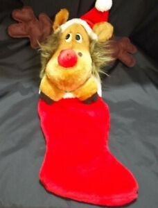 Smithy Large 24'' Vtg Reindeer Moose Christmas Stocking Plush Santa Hat Hooves