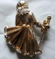 Vintage Pin Brooch - Ballroom Dancer  Crystals Faux Pearl Large Broach