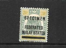 FEDERATED MALAY STATES  1900  20c   TIGER    MH  SPECIMEN  SG 6s