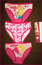 3 pack Size 6 - 8 BARBIE GIRLS BRIEFS - Cotton Undies / PINK UNDERWEAR - NEW