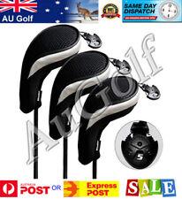 Set of 3 Golf Wood Head Covers - black - Au Stock - Fast Dispatch