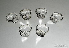 5 x Silver Plated Brass Seive Ring Bases / Shanks adjustable 15mm dia