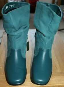 LADIES HOTTER LEATHER/NUBUCK PEACOCK COLOURED RUCHED CALF LENGTH BOOTS SIZE 8EXF