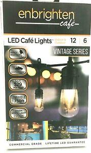 Enbrighten LED Cafe Lights Indoor Outdoor 12ft Bulb String Lights Vintage Series