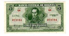 Bolivia ... P-129 ... 5 Bolivianos ... L.1928 ... *Ch UNC*