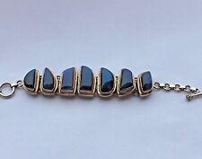 """Labradorite Sterling Silver Bezel Bracelet 7 Links Toggle Closure 7 1/4 """""""
