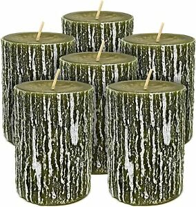 6 Hyoola Unscented Dripless Timberline Rustic Pillar Candles Size & Color Option