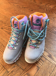 Timberland Women Euro Hiker Mixed Media Waterproof Gray Leather Boots Size 7