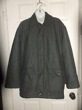 Vintage Winter Wool Jacket Coat Men's CHARCOAL GREY Lined Size L. Large