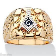 MASONIC MASON 14K GOLD NUGGET GP RING SIZE 8 9 10 11 12 13