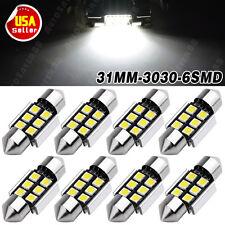 8Pcs  1 Watt 6000k White 31mm 6SMD Festoon Interior Trunk Cargo LED Light Bulb