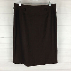 Dressbarn womens size 12 brown houndstooth fully lined center zip straight skirt