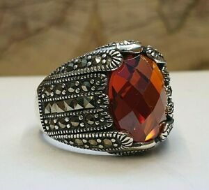 Solid 925 Sterling Silver Red Men Ring Garnet & Marcasite Gemstone Handmade