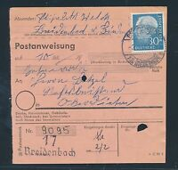 88569) Postanweisung mit EF 30PF Heuss I Breidenbach -  Biedenkopf