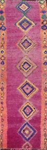 Vintage Moroccan Geometric Tribal Oriental Runner Rug Hand-knotted PURPLE 4'x13'