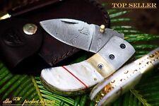 "DKC-43-PS Pearl Shell Thumb Damascus Steel Folding Pocket Knife 3.5"" Folded 7.5"""