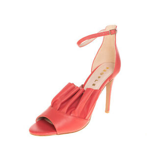 RRP €115 PEOPLE Leather Ankle Strap Sandals EU 40 UK 7 US 10 Heel Ruffle Trim