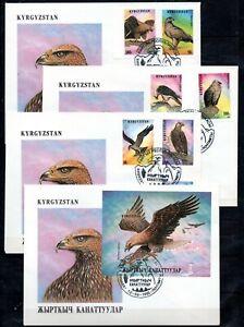 Kirgisien 74/80 und Block 11 B  FDC Greifvögel (952)