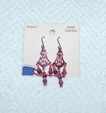 Ember Beads - Piece #2 Sunburst Bronze Color Hanging Earrings With