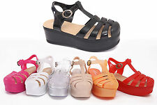WOMENS LADIES JELLY WEDGE GLADIATOR SUMMER FESTIVAL SANDALS FLIP FLOPS SIZE 3-8