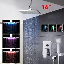 "Bathroom 16"" LED  Rainfall Brass Shower Head Ceiling Mount Shower faucets Kit"