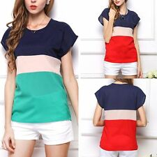 Women Loose Vest Casual Top Blouse T-Shirt Chiffon Short Sleeve