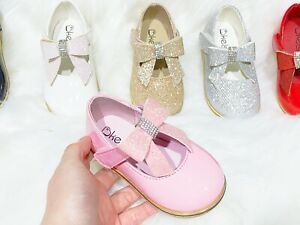 New Kids Infants Baby Girls Wedding Bridal Party Flat Bow Shoes Toddler Shoes