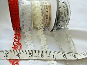 2m - Laser Cut SILVER RED IVORY WHITE Ribbon trim cardmaking stars roses scrolls