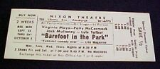 BAREFOOT IN THE PARK Unused 1960's Ticket MAYO & MCCORMACK Talbot Nixon Theater