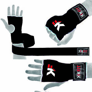 Gel Gloves Punch Bag Hand Quick Wraps Boxing Padded Inner UFC Gear MMA Black