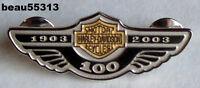 """LIMITED"" HARLEY DAVIDSON 2003 100th STERLING SILVER GOLD BAR & SHIELD PIN"