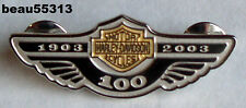 """LIMITED"" HARLEY DAVIDSON 2003 100th STERLING SILVER GOLD BAR & SHIELD PIN"